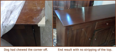 Chewed table corner - before & after